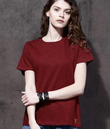Women Maroon Solid Round Neck T-shirt